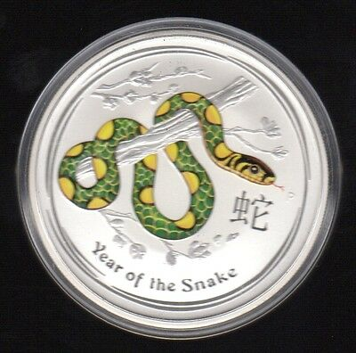2013 Australia Year Of The Snake 2 Dollars 2 Oz Color .999 Silver Proof Coin1 !!