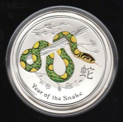 2013 Australia Year Of The Snake 2 Dollars 2 Oz Color .999 Silver Proof Coin3 !!