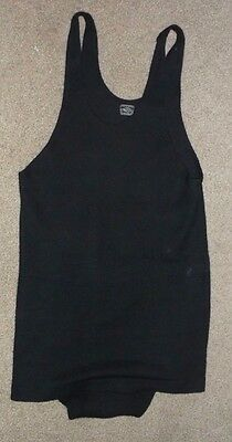 20's Antique Men's MAJESTIC Black Wool One Piece Swimsuit, Nice M/L