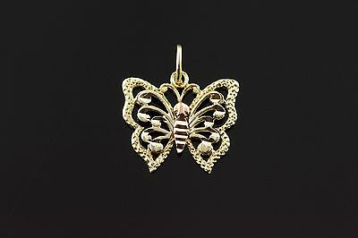14K Filigree Butterfly Insect Charm/Pendant Yellow Gold