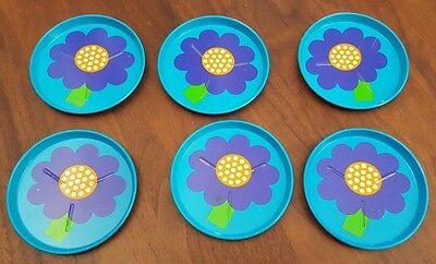 1970s Laurids Lonberg Six Tin Coasters - Designed by Lena and Al Eklund Denmark