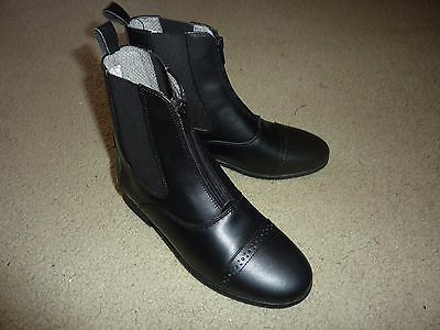 "Eu 35 Ovation Finesse Gd 029 Black Leather Zip Up Paddock Boots 7"" Tall New"