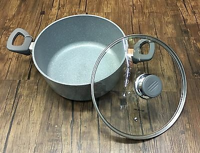 NEW 24cm Grey STONE MARBLE COATED NON STICK CASSEROLE COOKWARE INDUCTION