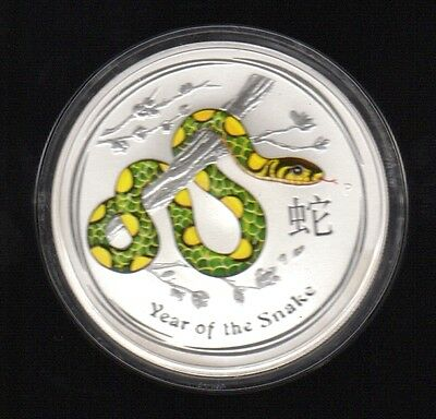 2013 Australia Year Of The Snake 1 Dollar 1 Oz Color .999 Silver Proof Coin1 !!