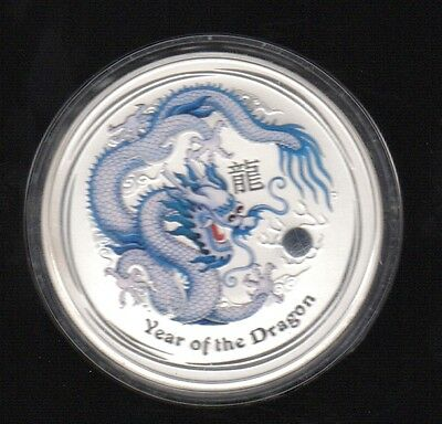 2012 Australia Year Of The Dragon 1 Dollar 1 Oz Color .999 Silver Proof Coin !!