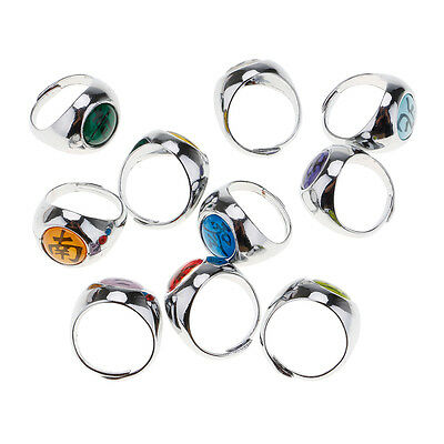 10Pcs Cosplay Akatsuki Member's Ring NINJA Anime Set Gift Collections In Box