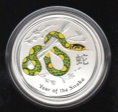 2013 Australia Year Of The Snake 50 Cents 1/2 Oz Color .999 Silver Proof Coin1!!