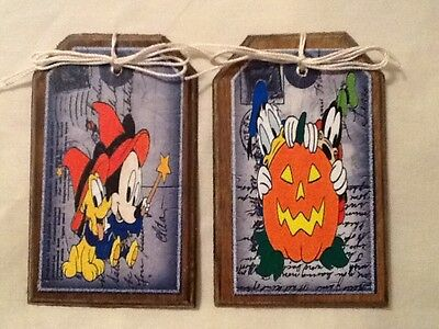 5 WOODEN Halloween MICKEY MOUSE Ornaments, HangTags,GiftTags,Ornies SETll