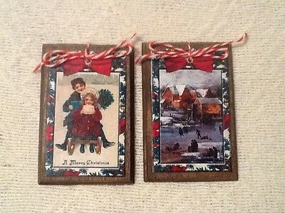 5 Wooden Christmas Ornaments/Winter GiftTags/HangTags HANDCRAFTED SetM20