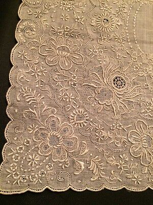 Beautiful Antique Victorian Style Bridal Hand Embroidery Batiste Handkerchief