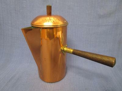 Vintage COPRAL PORTUGAL Copper Coffee Pot Milk Warmer with Wooden Handle