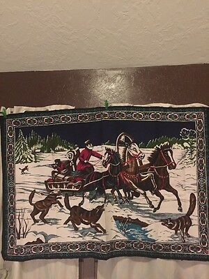 """Large Vintage New York Horses Tapestry Wall Hanging Rug Made In Turkey 58""""x38"""""""