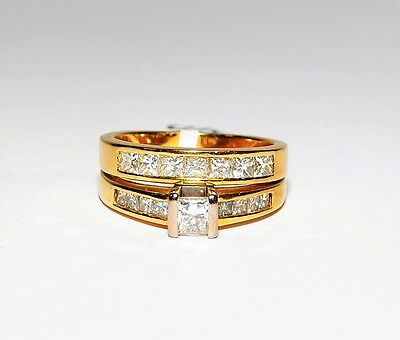 REDUCED 14K Yellow Gold 1ct Princess Diamond 2x Ring Joined Bridal Set #730753