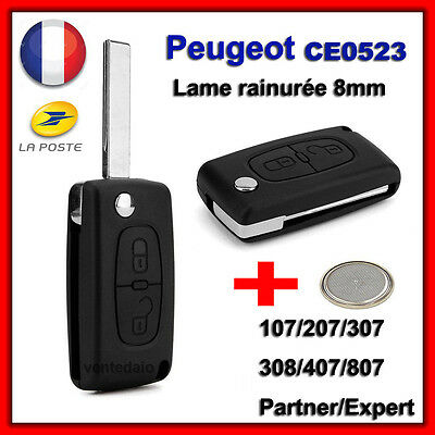 shell RKS key BEEP Peugeot 106 107 206 207 407 2 Button +Blade Grooved CE0523