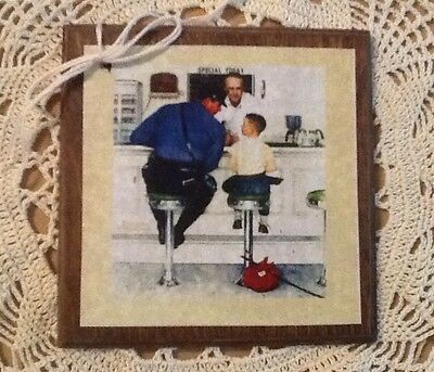 5 Handcrafted Wooden Norman Rockwell Ornaments,Gift Tags/HangTag SET4'