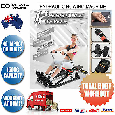 Row Rowing Machine Fitness Gym Exercise Equipment Hydraulic Workout Rower New