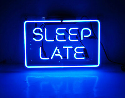 """SLEEP LATE"" Artwork Home Room Wall Decor Neon Sign Light Party Beer Bar Pub"