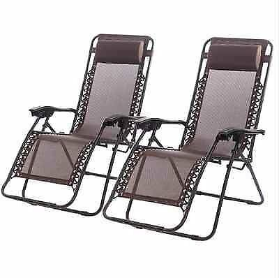 Zero Gravity Chairs Case Of 2 Lounge Patio Chairs Outdoor Yard Beach O62 (Brown)