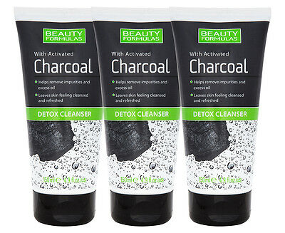 3 x Beauty Formulas Activated Charcoal Detox Cleanser 150mL