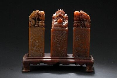 """Large 8.25"""" Intricately Carved Three Chinese Dragon Soapstone Seals On Wood Base"""