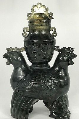 Rare Antique Chinese Jade Vase Statue of Two Chickens Holding A Vase