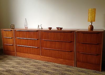 Mid Century Dresser & Bedside Tables - Vintage Sideboard Chest Of Drawers Retro