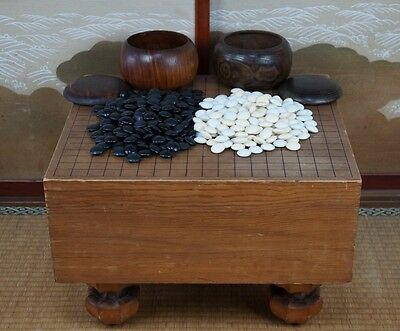 Vintage Japanese Goban thick wood board and Ischi 1900s Japan