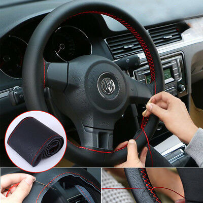Universal DIY Auto Car 38cm Steering Wheel Cover With Needle Thread PU Leather