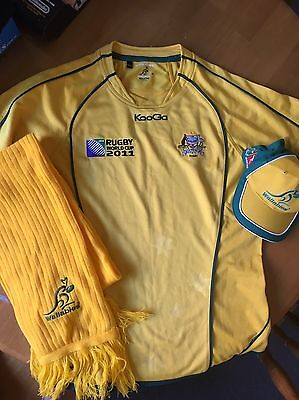 Men's Wallabies Rugby Jersey, Scarf, Cap - Size M