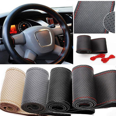 Universal Auto Car DIY 38cm Steering Wheel Cover PU Leather With Needle Thread