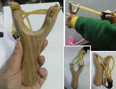 Hunting Slingshot Catapult Wooden Handle Rubber Band Outdoor Game