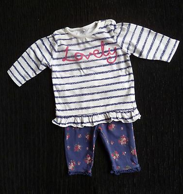 Baby clothes GIRL newborn 0-1m outfit white/dark blue floral leggings/stripe top