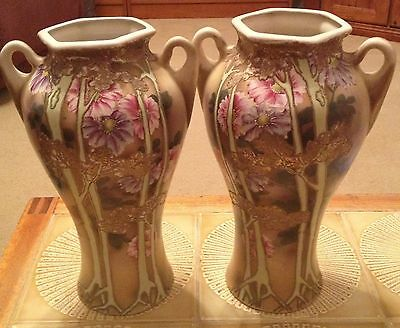 Pair of Antique Continental Floral Hand Painted Porcelain Vases