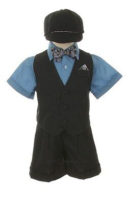 New Infant Baby Boys Blue Black Easter Shorts Set Outfit Suit Wedding   7002