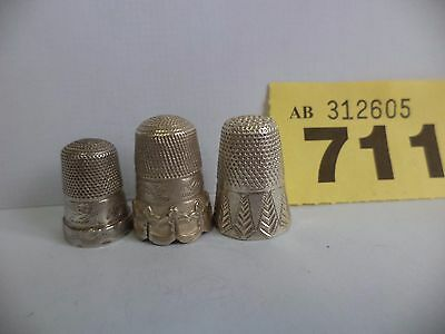 3 x Vintage Solid Silver Thimbles with Ornate Decoration