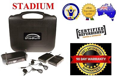 Stadium Twin Wireless Lapel microphone Pack transmitter Case WLAPEL2B 80M *RFB*
