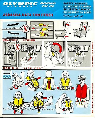 safety card OLYMPIC AIRWAYS  Boeing 737 400