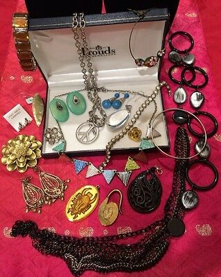 Bulk lot of vintage estate costume jewellery for wear and craft