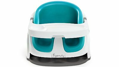 Ingenuity Baby Base 2-in-1 Booster Seat - Encourage Safe & Secure Sitting - Aqua