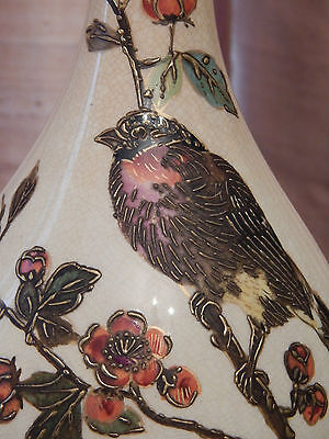 EXQUISITE ANTIQUE EARLY HAND PAINTED WEDGWOOD  BIRD LAMP VASE, ca.1880S