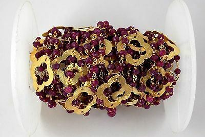 10Feet Aventurine Ruby Clover Charm Faceted Beaded Chain 24k Gold Plated 3.5-4mm