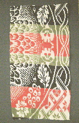 """Antique Coverlet Piece for Repurpose-Red/Navy/Green Wool-Hand Woven-10"""" x 20"""""""