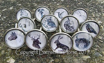 Pretty Animals & Wildlife, Cupboard Door Drawer Knobs Handles Pulls Metal/glass