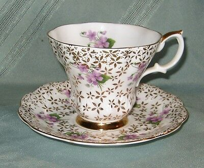 Beautiful, Unique Royal Albert Cup & Saucer - Lyric Shape, Gold Filigree & Pansy