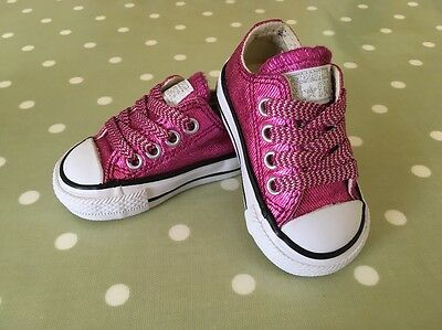 CUTE Baby Girls Pink Glitter Converse Infant Size 2 - EUR 18 Kids Trainers  Shoes 376c15102640