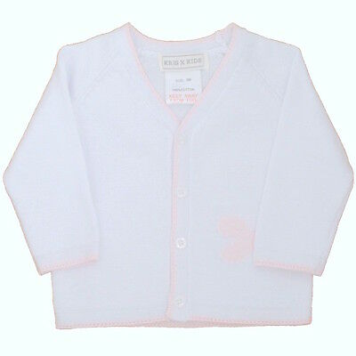 Baby Girls White/Pink Knitted Cotton Butterfly Cardigan 0-3 6-9 Months