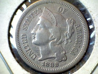 1882 3- Cent Nickel Coin circulated uncertified clashed both sides error