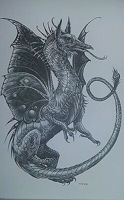 Dragon Emperor Print by: Melody Pena 1981 black and white un-framed ART