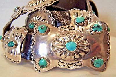 Vintage Navajo Sterling Silver Concho Turquoise Belt Signed MP with concho keepe