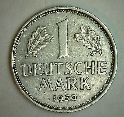 1950 J German 1 Mark Germany Copper Nickel Coin XF
